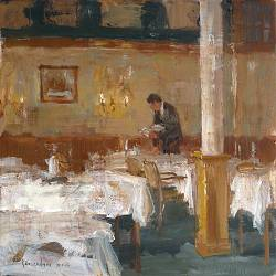 Hotel v/d Werff, The dinning room | painting of a interior in oil by Flip Gaasendam | Exclusive Dutch Master Art | View and buy the best artworks online now