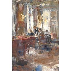 The waiter, Hotel v/d Werff| painting of a interior in oil by Flip Gaasendam | Exclusive Dutch Master Art | View and buy the best artworks online now
