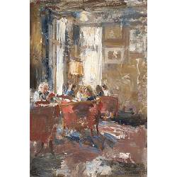 In the lounge, Hotel v/d Werff II | painting of a interior in oil by Flip Gaasendam | Exclusive Dutch Master Art | View and buy the best artworks online