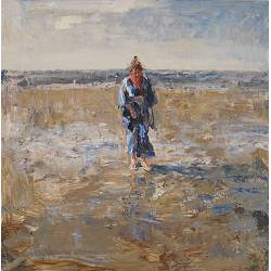 On the mudflat III | painting of a model-people in oil by Flip Gaasendam | Exclusive Dutch Master Art | View and buy the best artworks online now