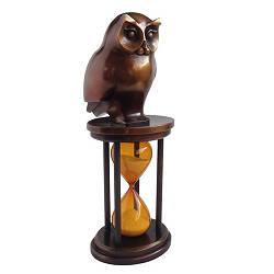Zandloper | bronzen beeld van een uil van Frans van Straaten | Exclusieve kunst online te koop in de webshop van Galerie Wildevuur