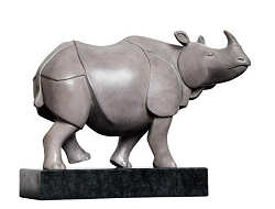 Rhinozeros | animal sculpture in bronze by Frans van Straaten now for sale online! ✓Highest quality & service ✓Safe payment ✓Free shipping
