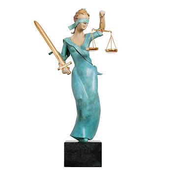 Justitia gekleurd | bronzen beeld de personificatie van het recht van Frans van Straaten | Exclusieve kunst online te koop bij Galerie Wildevuur