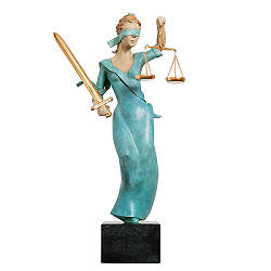 Justitia gekleurd | model sculpture in bronze by Frans van Straaten now for sale online! ✓Highest quality & service ✓Safe payment ✓Free shipping