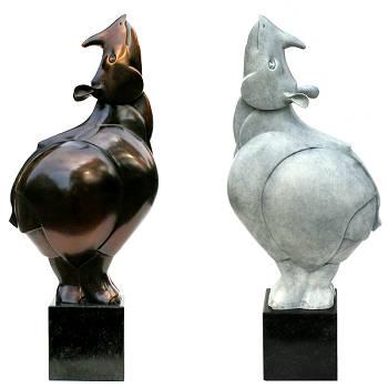 Neushoorn | bronzen beeld van een witte rhino van Frans van Straaten | Exclusieve kunst online te koop in de webshop van Galerie Wildevuur