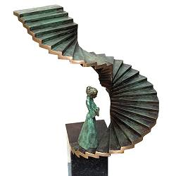 Stairway to the future | animal sculpture in bronze by Frans van Straaten now for sale online! ✓Highest quality & service ✓Safe payment ✓Free shipping