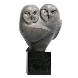 Dubbel II | bronzen beeld van twee uilen van Frans van Straaten koopt u nu online! ✓Hoogste kwaliteit & service ✓Veilig betalen ✓Gratis verzending