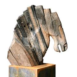 Horse | animal sculpture in wood by Gerard Engels | Exclusive Dutch Master Art | View and buy the best artworks online now