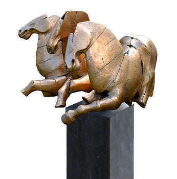 Driespan | bronzen beeld van drie paarden van Gerard Engels | Exclusief kunstwerk online te koop in de webshop van Galerie Wildevuur