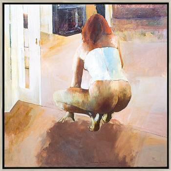 Zomermiddag | model schilderij in olieverf van Gerard van de Weerd | Exclusieve kunst online te koop in de webshop van Galerie Wildevuur