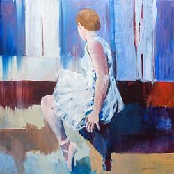 Ballerina | model schilderij in olieverf van Gerard van de Weerd | Exclusieve kunst online te koop in de webshop van Galerie Wildevuur