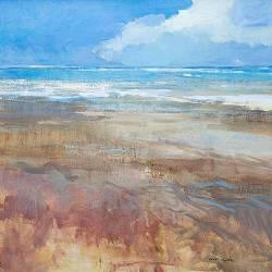 Opkomend water (Schiermonnikoog) | landschap schilderij in olieverf van Gerard van de Weerd | Exclusieve kunst online te koop bij Galerie Wildevuur
