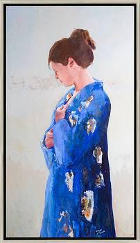 Blauwe kimono | model schilderij in olieverf van Gerard van de Weerd | Exclusieve kunst online te koop in de webshop van Galerie Wildevuur