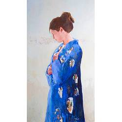 Blue kimono | model painting in oil by Gerard van de Weerd now for sale online! ✓Highest quality & service ✓Safe payment ✓Free shipping
