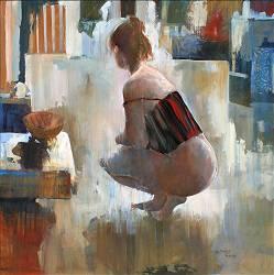 Tegenlicht | schilderij van een vrouw in olieverf van Gerard van de Weerd | Exclusieve kunst online te koop bij wildevuur.nl