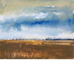 Naderend onweer | landschap schilderij in olieverf van Gerard van de Weerd | Exclusieve kunst online te koop in de webshop van Galerie Wildevuur