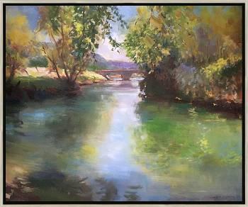 Le Céou | landschap schilderij in olieverf van Hans Musters koopt u nu online! ✓Hoogste kwaliteit & service ✓Veilig betalen ✓Gratis verzending