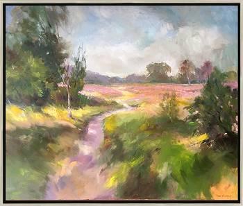 En route | landschap schilderij in olieverf van Hans Musters koopt u nu online! ✓Hoogste kwaliteit & service ✓Veilig betalen ✓Gratis verzending