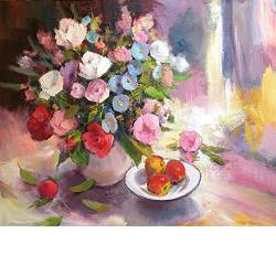 An exuberant bouquet | still-life painting in oil by Hans Musters | Exclusive Dutch Master Art | View and buy the best artworks online now