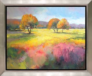 Nazomer | landschap schilderij in olieverf van Hans Musters | Exclusieve kunst online te koop in de webshop van Galerie Wildevuur