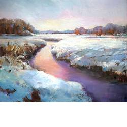 Winter | landscape painting in oil by Hans Musters now for sale online! ?Highest quality & service ?Safe payment ?Free shipping