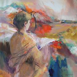Klaprozenveld | schilderij van een landschap in olieverf van Hans Musters | Exclusieve kunst online te koop in de webshop van Galerie Wildevuur