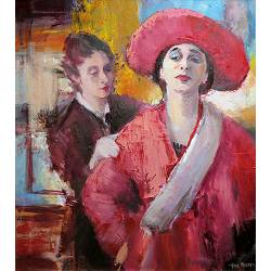 The golden dress | schilderij van een model-mensen in olieverf van Hans Musters | kunst online te koop in de webshop van Galerie Wildevuur