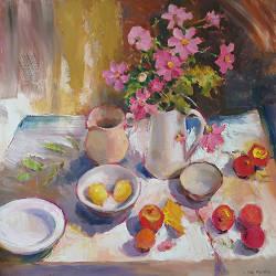 Van Taarloo naar Oude Molen | schilderij van een landschap in olieverf van Hans Musters | kunst online te koop in de webshop van Galerie Wildevuur