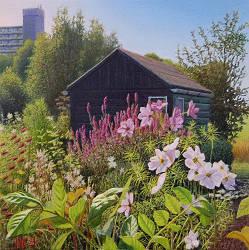 De kikkerpoel | landschap schilderij in olieverf van Hans Parlevliet | Exclusieve kunst online te koop in de webshop van Galerie Wildevuur
