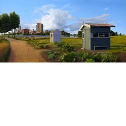 Het buitengebied | landschap schilderij in olieverf van Hans Parlevliet koopt u nu online! ✓Hoogste kwaliteit ✓Veilig betalen ✓Gratis verzending