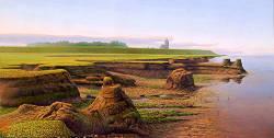 De klippen bij moddergat | schilderij van een landschap in olieverf van Hans Parlevliet | Shop online bij Galerie Wildevuur