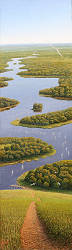 Weg naar beneden | schilderij van een landschap in olieverf van Hans Parlevliet | Exclusieve kunst online te koop in de webshop van Galerie Wildevuur