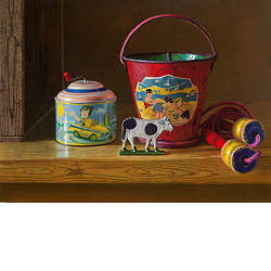 Goede vrienden | landschap schilderij met kippen in olieverf van Herman Tulp | Exclusieve kunst online te koop in de webshop van Galerie Wildevuur
