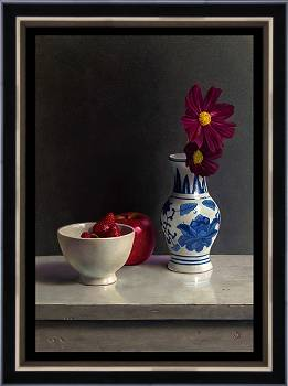 Compositie met rood   stilleven schilderij in olieverf van Herman Tulp   Exclusieve kunst online te koop in de webshop van Galerie Wildevuur