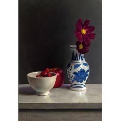 Compositie met rood | stilleven schilderij in olieverf van Herman Tulp koopt u nu online! ✓Hoogste kwaliteit ✓Veilig betalen ✓Gratis verzending