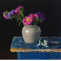Zomeravond | stilleven schilderij in olieverf van Herman Tulp | Exclusieve kunst online te koop in de webshop van Galerie Wildevuur