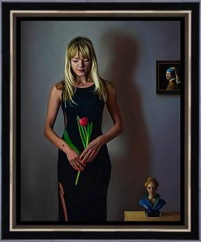 Drie dames | model schilderij in olieverf van Herman Tulp | Exclusieve kunst online te koop in de webshop van Galerie Wildevuur