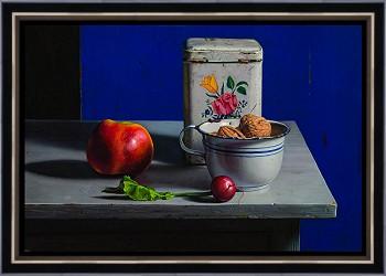 Stilleven met blauw | stilleven schilderij in olieverf van Herman Tulp | Exclusieve kunst online te koop in de webshop van Galerie Wildevuur