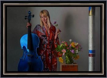 Muze | model schilderij in olieverf van Herman Tulp | Exclusieve kunst online te koop in de webshop van Galerie Wildevuur