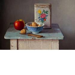 Stilleven met walnoten | stilleven schilderij in olieverf van Herman Tulp | Exclusieve kunst online te koop in de webshop van Galerie Wildevuur