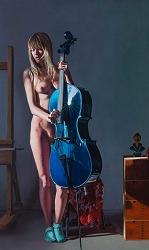 De muziek | model schilderij in olieverf van Herman Tulp | Exclusieve kunst online te koop in de webshop van Galerie Wildevuur