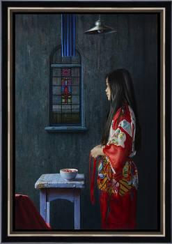 Ochtendrituelen | schilderij van een vrouw in olieverf van Herman Tulp | Exclusieve kunst online te koop in de webshop van Galerie Wildevuur