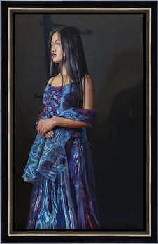 Winterzon   schilderij van een vrouw in olieverf van Herman Tulp   Exclusieve kunst online te koop in de webshop van Galerie Wildevuur