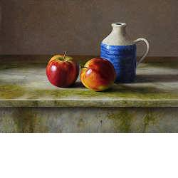 Apples on marble | still life painting in oil by Herman Tulp| Exclusive Dutch Master Art | View and buy the best artworks online now