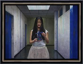 Behouden | schilderij van een vrouw in olieverf van Herman Tulp | Exclusieve kunst online te koop in de webshop van Galerie Wildevuur