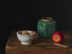 Gemberpot en appel | schilderij van een stilleven in olieverf van Herman Tulp | Exclusieve kunst online te koop in de webshop van Galerie Wildevuur