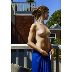 Balkon | schilderij van een vrouw in olieverf van Herman Tulp koopt u nu online! ✓Hoogste kwaliteit ✓Veilig betalen ✓Gratis verzending