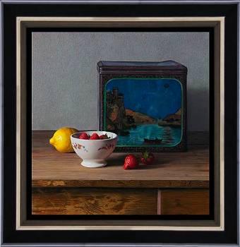 De blauwe trommel | stilleven schilderij in olieverf van Herman Tulp | Exclusieve kunst online te koop in de webshop van Galerie Wildevuur