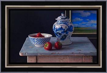 Blauwe kamer   stilleven schilderij in olieverf van Herman Tulp   Exclusieve kunst online te koop in de webshop van Galerie Wildevuur