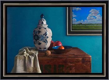 De groene kamer | stilleven schilderij in olieverf van Herman Tulp | Exclusieve kunst online te koop in de webshop van Galerie Wildevuur